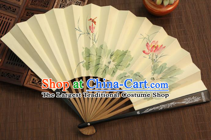 Chinese Traditional Handmade Ink Painting Lotus Paper Fans Classical Accordion Folding Fans for Women
