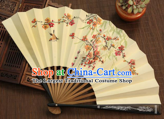 Chinese Traditional Handmade Ink Painting Plum Blossom Paper Fans Classical Accordion Folding Fans for Women