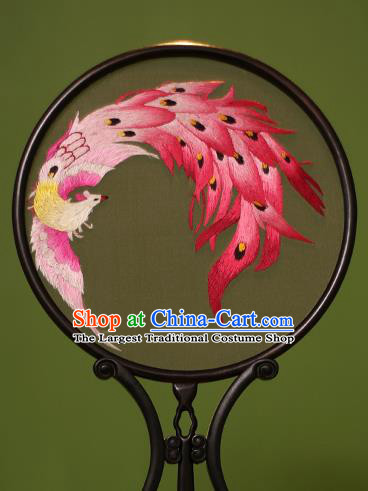 Chinese Traditional Handmade Embroidered Phoenix Silk Round Fans Classical Palace Fans for Women