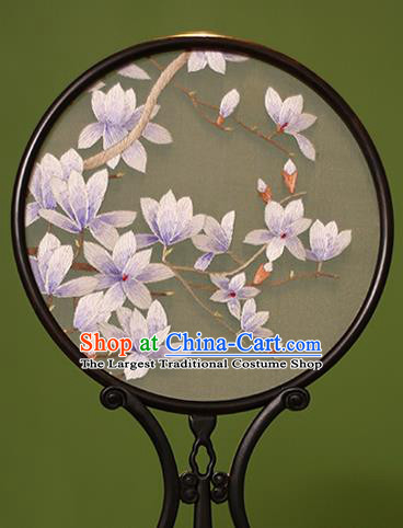 Chinese Traditional Handmade Embroidered Yulan Magnolia Silk Round Fans Classical Palace Fans for Women