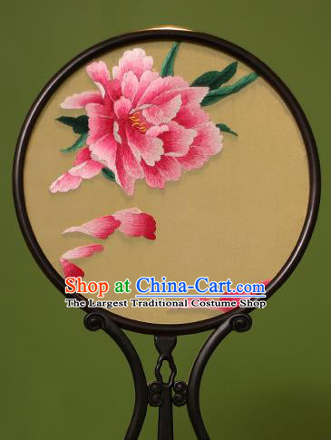 Chinese Traditional Handmade Embroidered Red Peony Silk Round Fans Classical Palace Fans for Women
