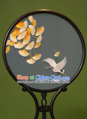 Chinese Traditional Handmade Embroidered Crane Silk Round Fans Classical Palace Fans for Women
