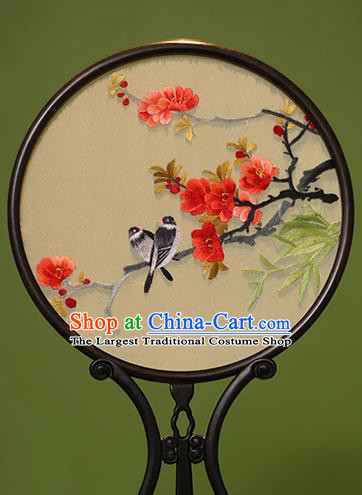 Chinese Traditional Handmade Embroidered Malus Spectabilis Silk Round Fans Classical Palace Fans for Women