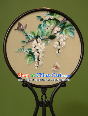 Chinese Traditional Handmade Embroidered Flos Sophorae Silk Round Fans Classical Palace Fans for Women