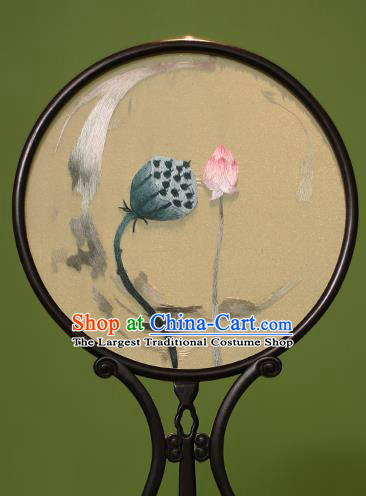 Chinese Traditional Handmade Embroidered Lotus Silk Round Fans Classical Palace Fans for Women