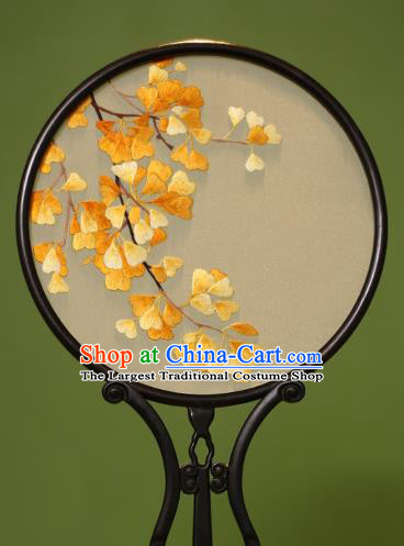 Chinese Traditional Handmade Embroidered Ginkgo Leaf Silk Round Fans Classical Palace Fans for Women