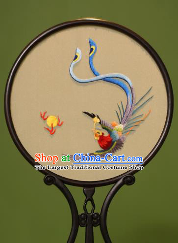 Chinese Traditional Handmade Embroidered Fire Phoenix Silk Round Fans Classical Palace Fans for Women