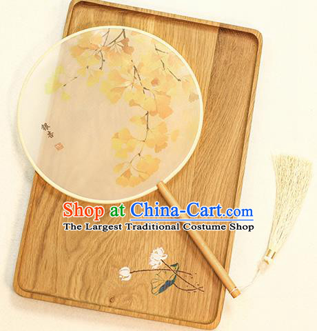 Chinese Traditional Printing Ginkgo Leaf Dance Silk Round Fans Handmade Classical Palace Fans for Women