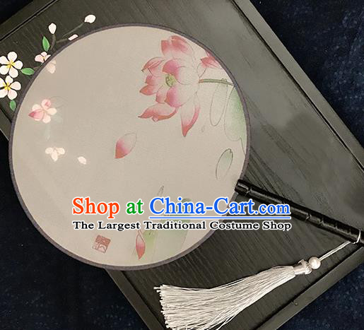 Chinese Traditional Printing Lotus Silk Round Fans Classical Hanfu Palace Fans for Women