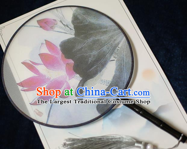 Chinese Traditional Printing Red Lotus Silk Round Fans Classical Hanfu Palace Fans for Women