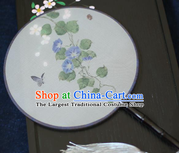 Chinese Traditional Printing Blue Petunia Silk Round Fans Classical Hanfu Palace Fans for Women