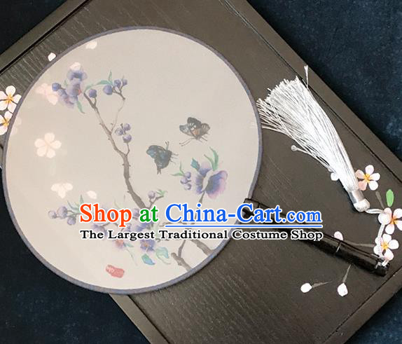 Chinese Traditional Printing Purple Flowers Butterfly Silk Round Fans Classical Hanfu Palace Fans for Women