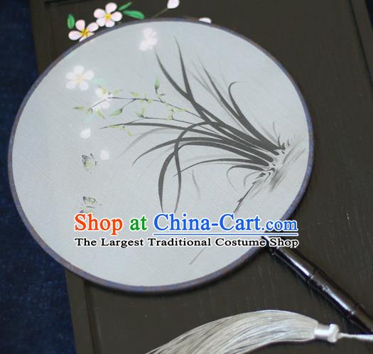 Chinese Traditional Printing Orchid Silk Round Fans Classical Hanfu Palace Fans for Women