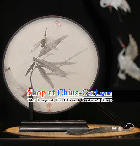 Chinese Traditional Printing Dragonfly Silk Round Fans Classical Hanfu Palace Fans for Women