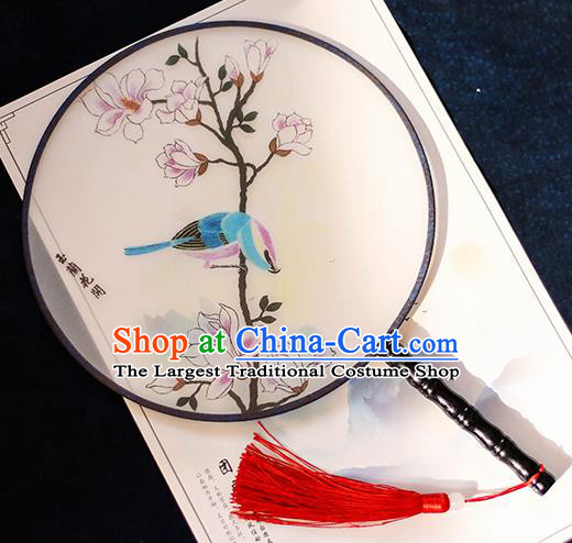 Chinese Traditional Printing Yulan Magnolia Silk Round Fans Handmade Classical Palace Fans for Women