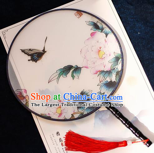 Chinese Traditional Printing Peony Flowers Silk Round Fans Handmade Classical Palace Fans for Women