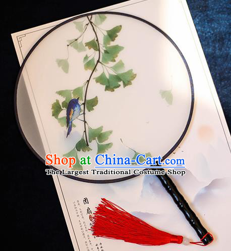 Chinese Traditional Printing Green Leaf Silk Round Fans Handmade Classical Palace Fans for Women