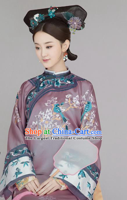 Chinese Ancient Imperial Consort Embroidered Dress Qing Dynasty Manchu Historical Costume for Women