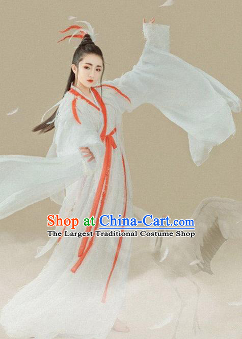 Chinese Ancient Peri Swordswoman Hanfu Dress Jin Dynasty Palace Princess Historical Costume for Women