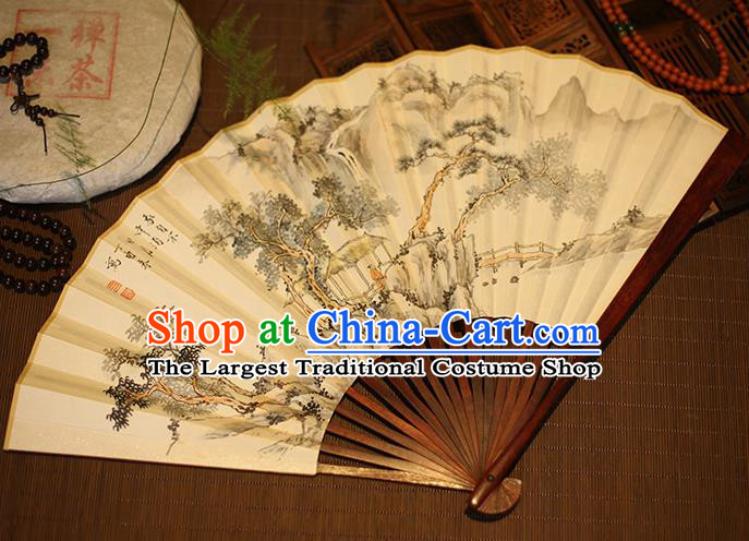 Chinese Traditional Handmade Printing Stone Pine Xuan Paper Fans Classical Rosewood Folding Fans for Men