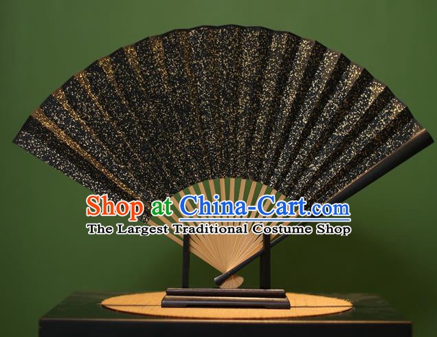 Chinese Traditional Handmade Black Xuan Paper Fans Classical Folding Fans for Men