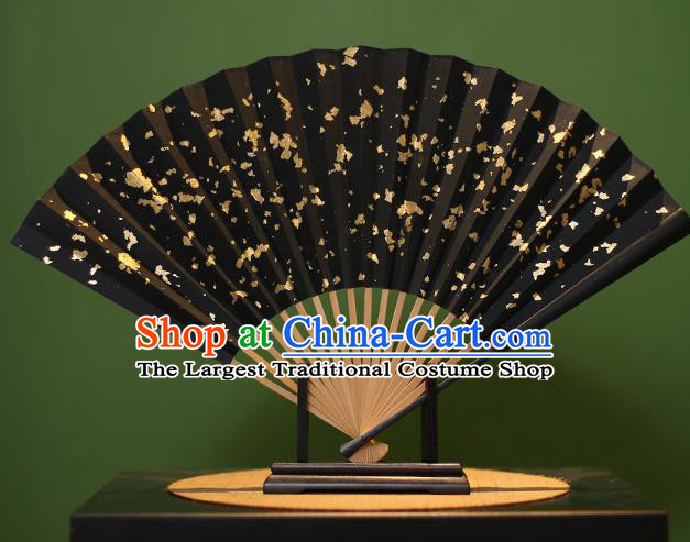 Chinese Traditional Handmade Gilding Black Xuan Paper Fans Classical Folding Fans for Men