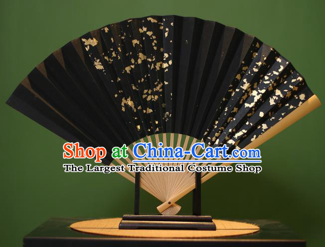 Chinese Traditional Handmade Golden Paillette Black Xuan Paper Fans Classical Folding Fans for Men