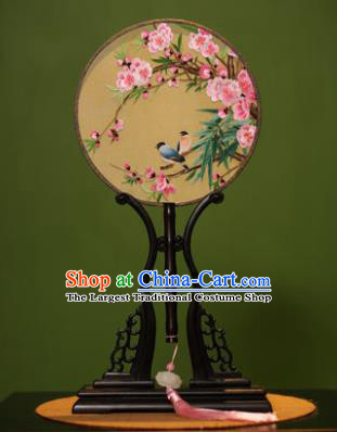 Handmade Chinese Traditional Double Side Silk Round Fan Classical Embroidered Peach Blossom Palace Fans for Women