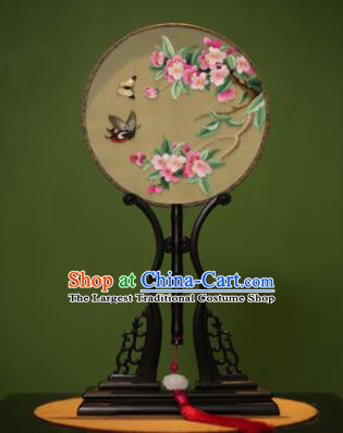 Handmade Chinese Traditional Double Side Silk Round Fan Classical Embroidered Peach Flowers Palace Fans for Women