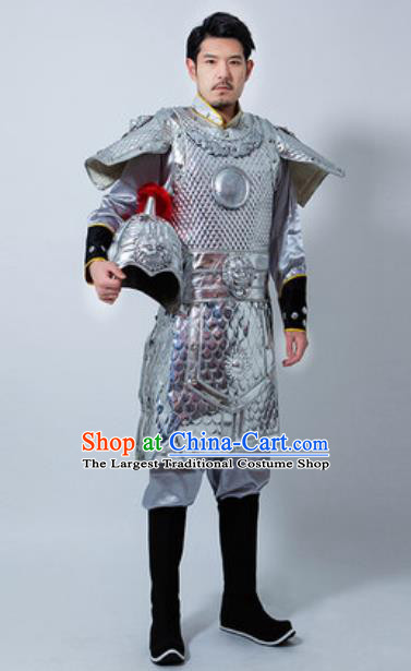 Chinese Ancient Drama Costume Han Dynasty General Helmet and Armour Complete Set for Men