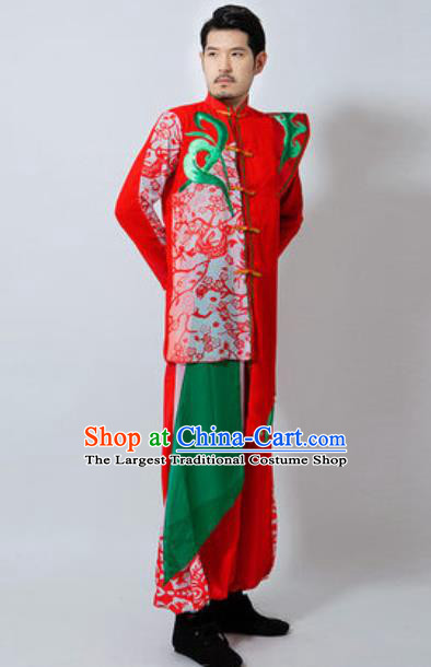 Chinese Folk Dance Red Costume Classical Dance Drum Dance Clothing for Men