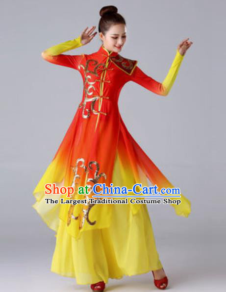 Chinese Traditional Drum Dance Costume Classical Dance Stage Performance Red Dress for Women