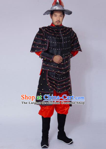 Chinese Ancient Drama Costume Yuan Dynasty General Black Helmet and Armour Complete Set for Men