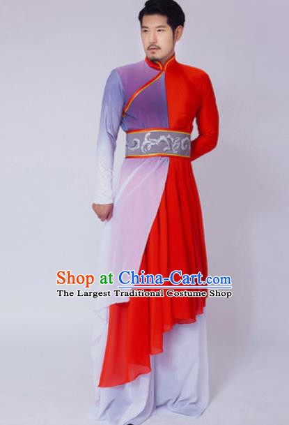 Chinese Traditional Folk Dance Red Costume Classical Dance Drum Dance Clothing for Men