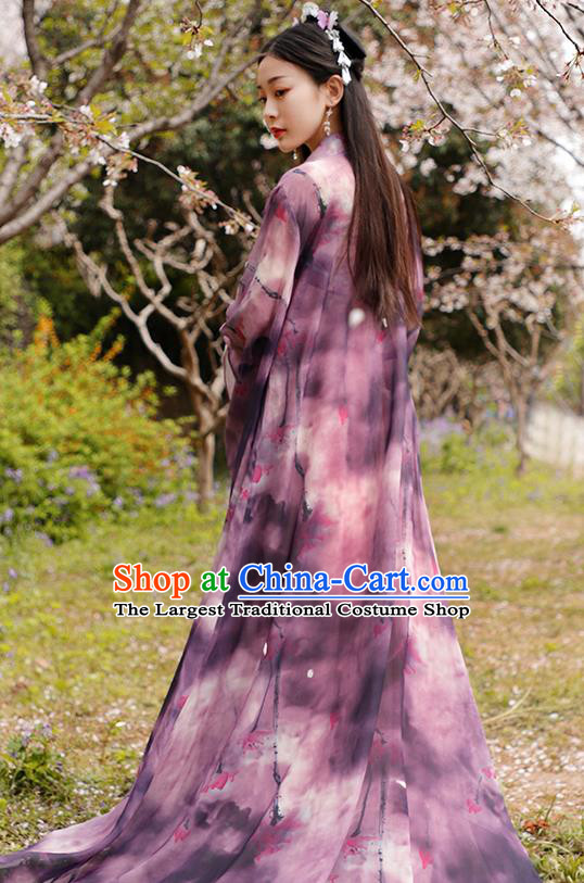 Chinese Ancient Goddess Peri Hanfu Dress Tang Dynasty Imperial Consort Historical Costume for Women