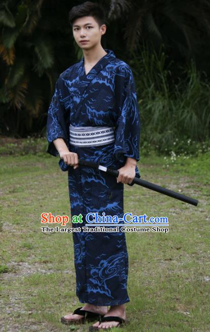 Japanese Traditional Handmade Navy Kimono Robe Asian