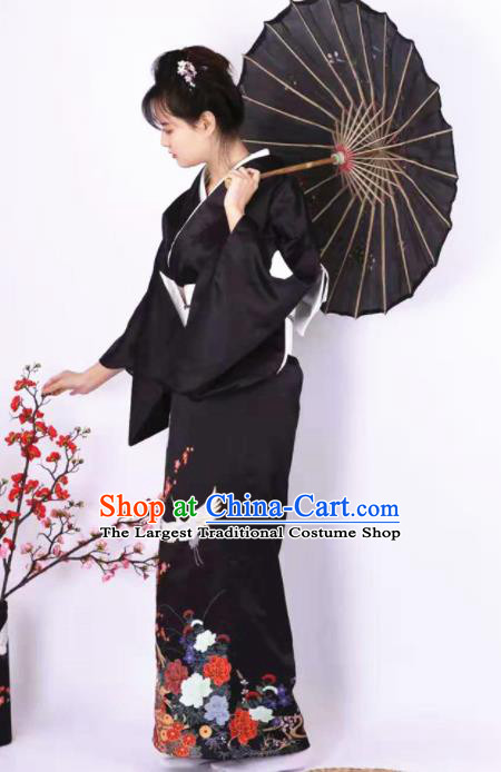 Japanese Traditional Handmade Printing Crane Black Kimono Dress Asian Japan Geisha Yukata Costume for Women
