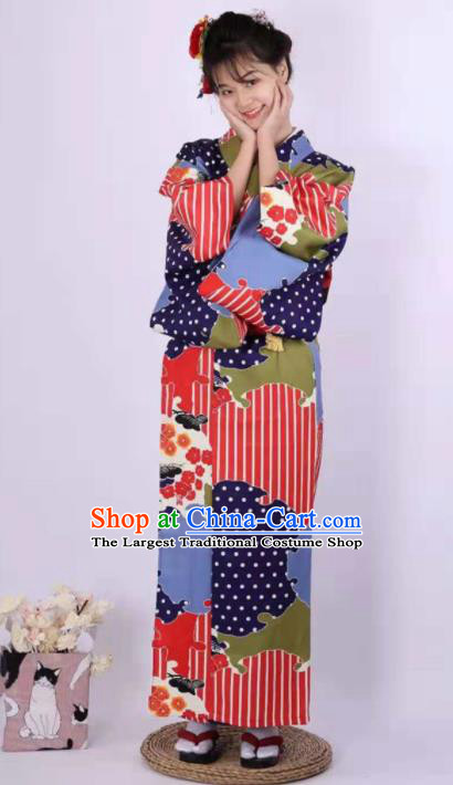 Japanese Traditional Handmade Printing Kimono Dress Asian Japan Geisha Yukata Costume for Women