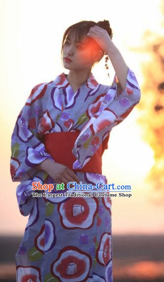 Japanese Traditional Handmade Printing Furisode Kimono Dress Asian Japan Geisha Yukata Costume for Women
