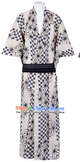 Japanese Traditional Samurai Printing White Kimono Asian Japan Handmade Warrior Yukata Costume for Men