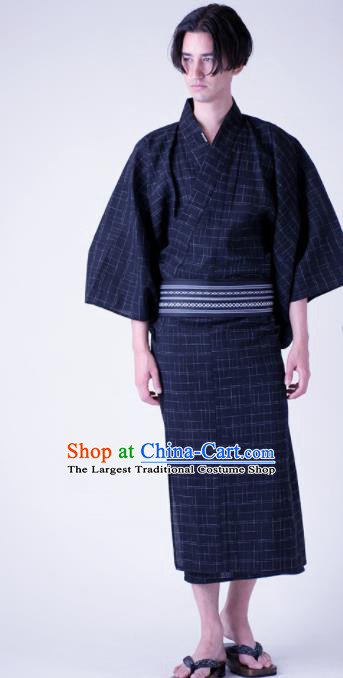 Traditional Japanese Samurai Navy Veil Kimono Robe Asian Japan Handmade Warrior Yukata Costume for Men