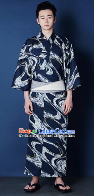 Traditional Japanese Samurai Printing Waves Navy Kimono Robe Asian Japan Handmade Warrior Yukata Costume for Men