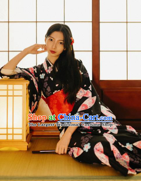 Japanese Traditional Handmade Printing Fan Black Kimono Dress Asian Japan Geisha Yukata Costume for Women