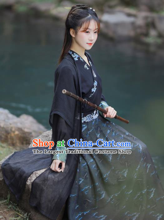 Chinese Ancient Swordswoman Embroidered Black Hanfu Dress Song Dynasty Young Lady Historical Costume for Women