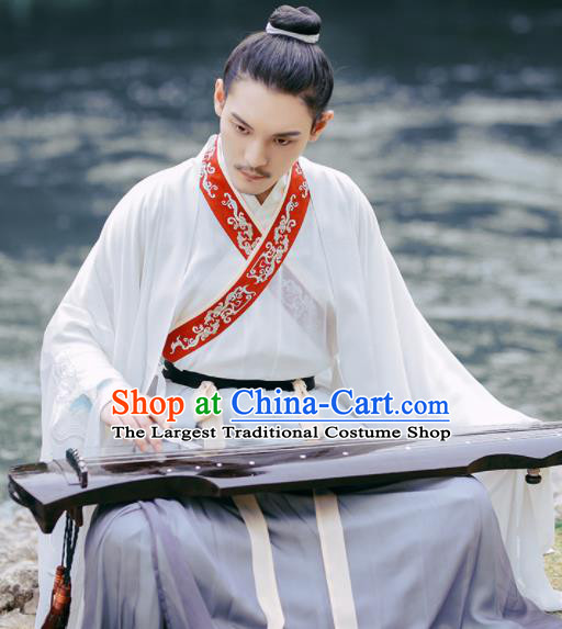 Chinese Ancient Nobility Childe Embroidered Hanfu Clothing Jin Dynasty Scholar Historical Costume for Men
