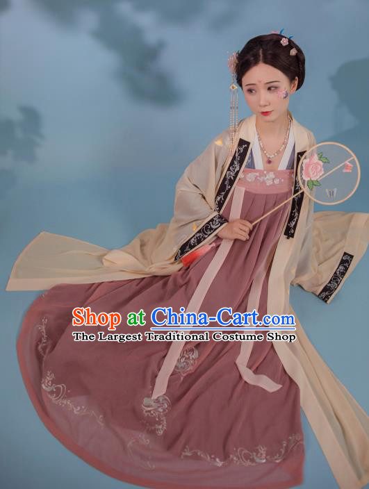 Chinese Ancient Imperial Consort Embroidered Hanfu Dress Tang Dynasty Historical Costume for Women