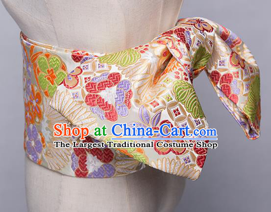 Japanese Traditional Handmade Kimono Embroidered Belts Asian Japan Geisha Yukata Beige Brocade Waistband for Women