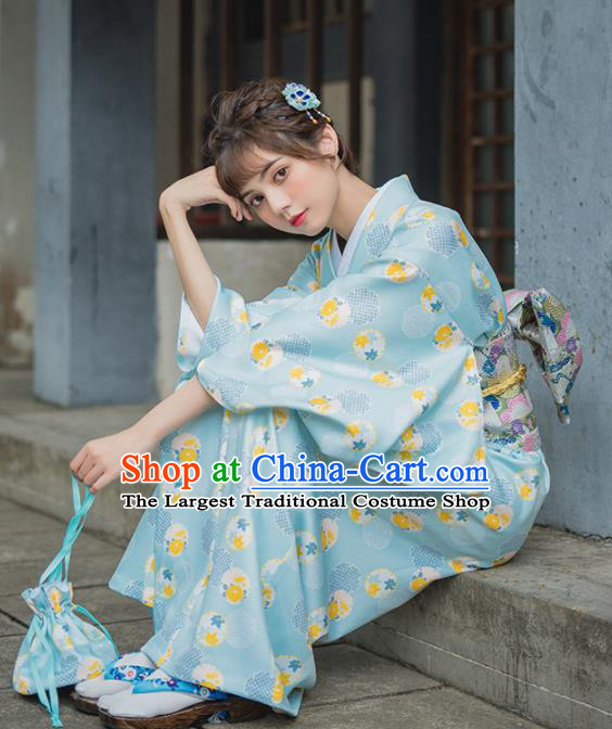 Handmade Japanese Traditional Costume Printing Green Furisode Kimono Dress Asian Japan Yukata for Women