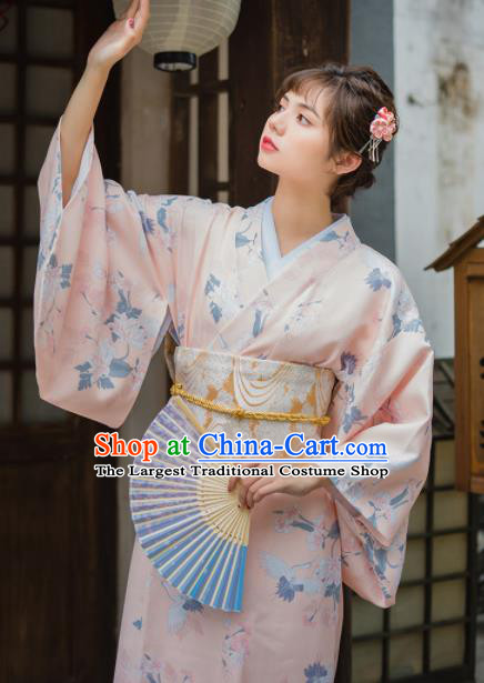 Handmade Japanese Traditional Costume Printing Pink Furisode Kimono Dress Asian Japan Yukata for Women