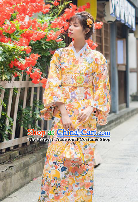 Handmade Japanese Traditional Costume Printing Yellow Furisode Kimono Dress Asian Japan Yukata for Women